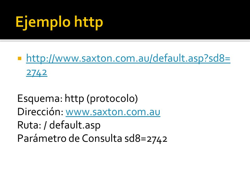 http://www.saxton.com.au/default.asp sd8= 2742 http://www.saxton.com.au/default.asp sd8= 2742 Esquema: http (protocolo) Dirección: www.saxton.com.auwww.saxton.com.au Ruta: / default.asp Parámetro de Consulta sd8=2742