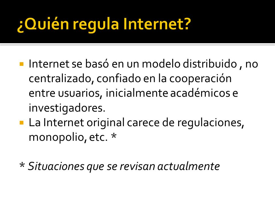Internet se basó en un modelo distribuido, no centralizado, confiado en la cooperación entre usuarios, inicialmente académicos e investigadores.