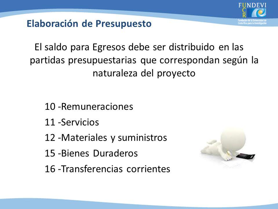 El saldo para Egresos debe ser distribuido en las partidas presupuestarias que correspondan según la naturaleza del proyecto 10 -Remuneraciones 11 -Se