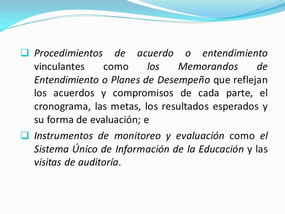 Procedimientos de acuerdo o entendimiento vinculantes como los Memorandos de Entendimiento o Planes de Desempeño que reflejan los acuerdos y compromisos de cada parte, el cronograma, las metas, los resultados esperados y su forma de evaluación; e Instrumentos de monitoreo y evaluación como el Sistema Único de Información de la Educación y las visitas de auditoría.
