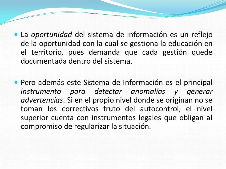 La oportunidad del sistema de información es un reflejo de la oportunidad con la cual se gestiona la educación en el territorio, pues demanda que cada gestión quede documentada dentro del sistema.