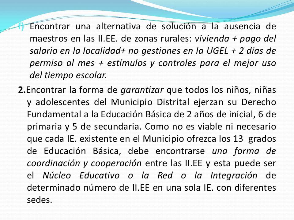 f) Encontrar una alternativa de solución a la ausencia de maestros en las II.EE. de zonas rurales: vivienda + pago del salario en la localidad+ no ges