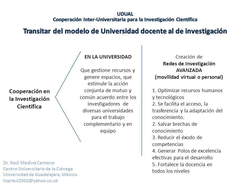 Dr. Raúl Medina Centeno Centro Universitario de la Ciénega Universidad de Guadalajara, México topraul2002@yahoo.co.uk Cooperación en la Investigación