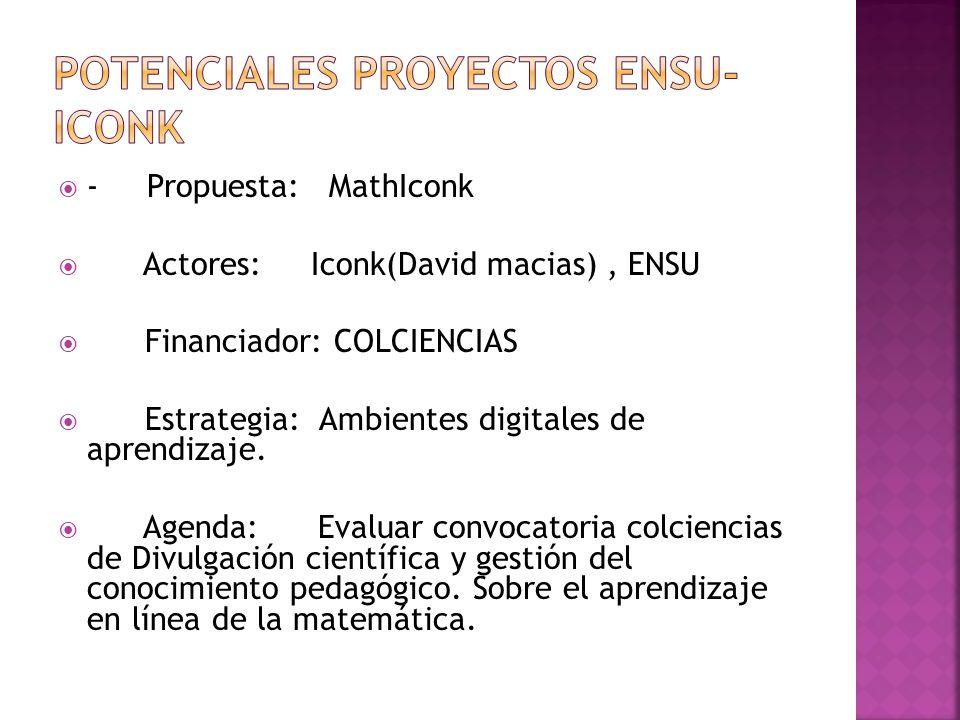 - Propuesta: MathIconk Actores: Iconk(David macias), ENSU Financiador: COLCIENCIAS Estrategia: Ambientes digitales de aprendizaje.
