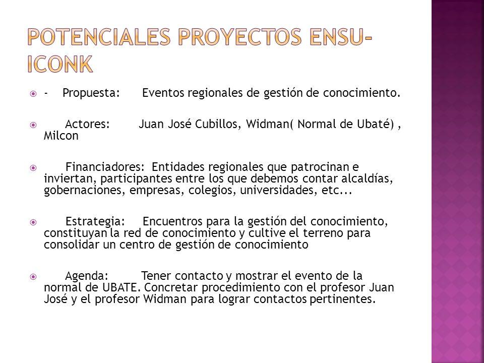 - Propuesta: Eventos regionales de gestión de conocimiento.