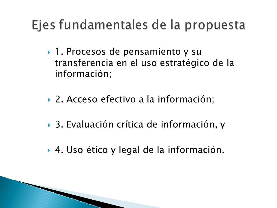 1. Procesos de pensamiento y su transferencia en el uso estratégico de la información; 2. Acceso efectivo a la información; 3. Evaluación crítica de i