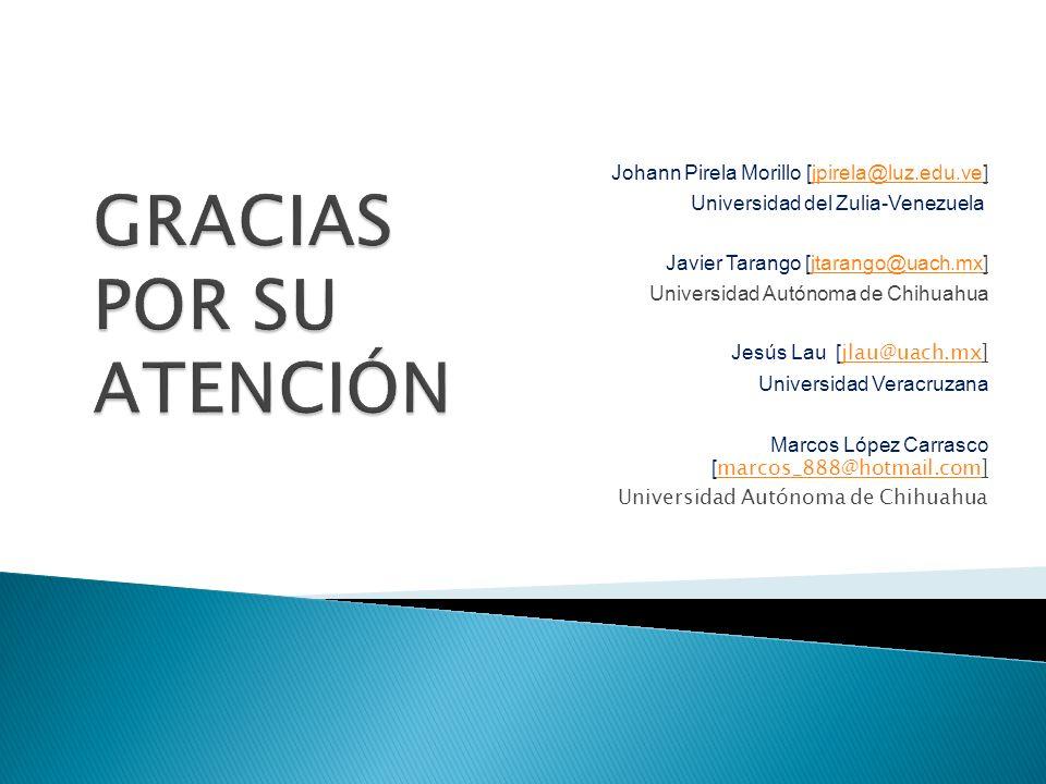 Johann Pirela Morillo [jpirela@luz.edu.ve]jpirela@luz.edu.ve Universidad del Zulia-Venezuela Javier Tarango [jtarango@uach.mx]jtarango@uach.mx Univers