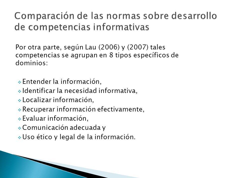 Por otra parte, según Lau (2006) y (2007) tales competencias se agrupan en 8 tipos específicos de dominios: Entender la información, Identificar la ne