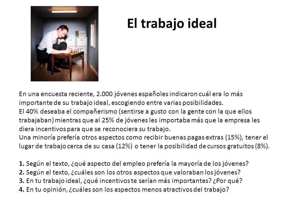En una encuesta reciente, 2.000 jóvenes españoles indicaron cuál era lo más importante de su trabajo ideal, escogiendo entre varias posibilidades.