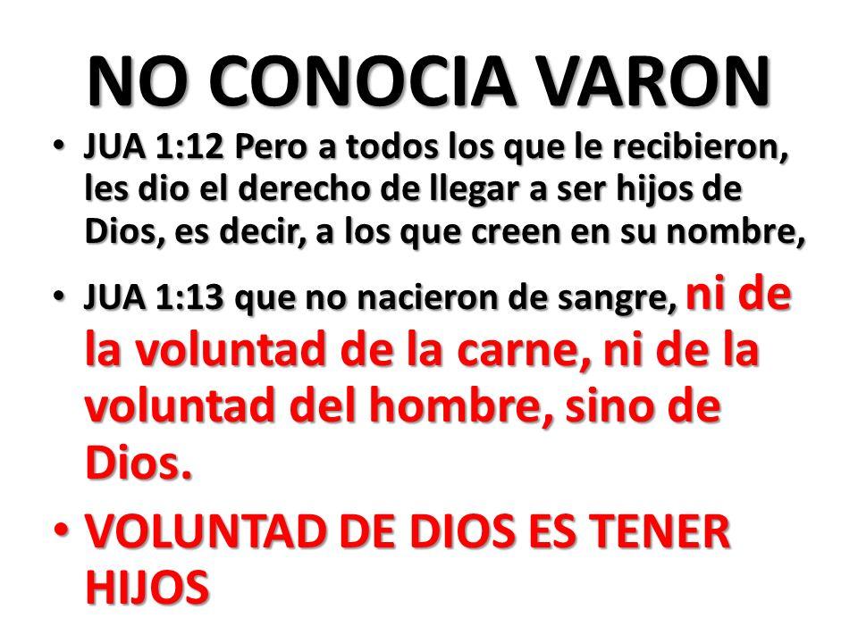 NO CONOCIA VARON JUA 1:12 Pero a todos los que le recibieron, les dio el derecho de llegar a ser hijos de Dios, es decir, a los que creen en su nombre