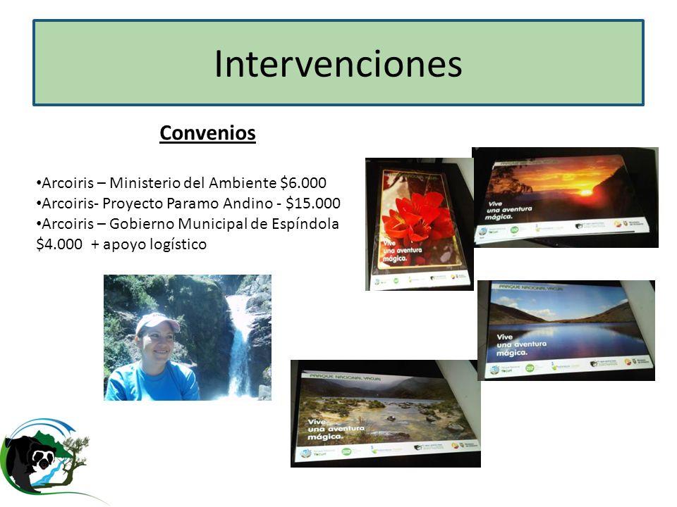Intervenciones Convenios Arcoiris – Ministerio del Ambiente $6.000 Arcoiris- Proyecto Paramo Andino - $15.000 Arcoiris – Gobierno Municipal de Espíndo