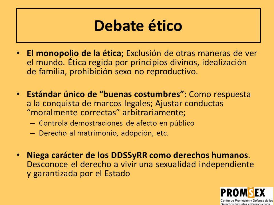 Ámbitos de controversia DDSSyRR Debate político Enfoca la sexualidad y reproducción como asuntos públicos y privados: Establece Derechos y libertades