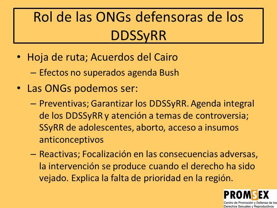 Efectos; mecanismos de suman Inequidad social y económica Falla distributiva Perspectiva restrictiva de los DDSSyRR; Enfoque tutelar Educación sexual;