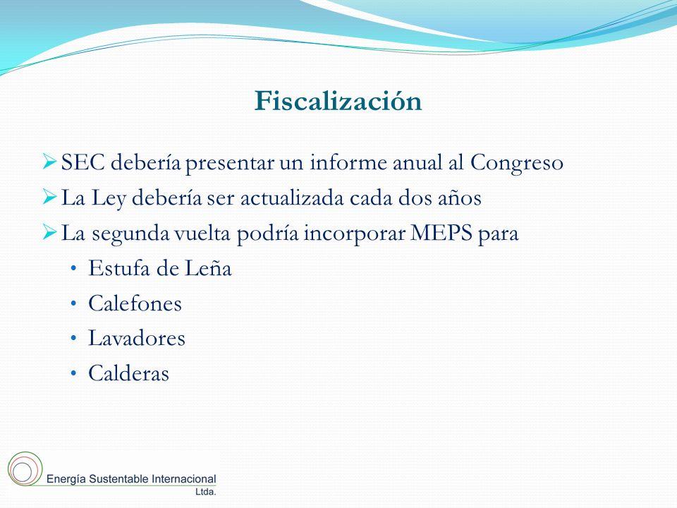 Fiscalización SEC debería presentar un informe anual al Congreso La Ley debería ser actualizada cada dos años La segunda vuelta podría incorporar MEPS para Estufa de Leña Calefones Lavadores Calderas