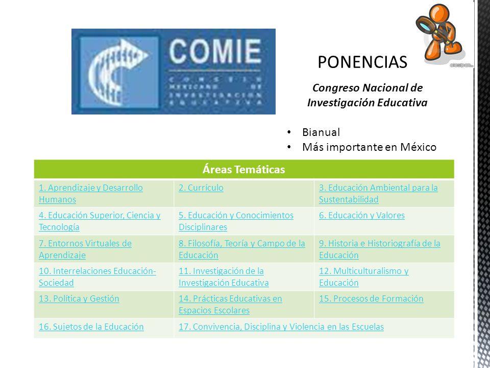 Congreso Nacional de Investigación Educativa Bianual Más importante en México Áreas Temáticas 1. Aprendizaje y Desarrollo Humanos 2. Currículo3. Educa