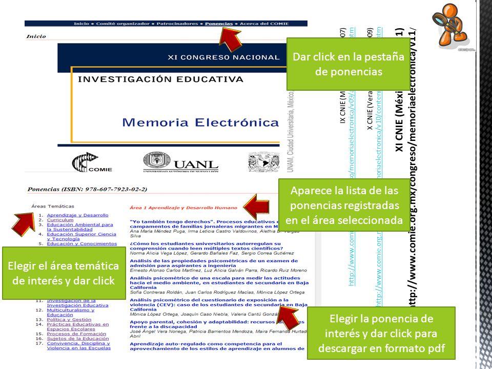 Dar click en la pestaña de ponencias Elegir el área temática de interés y dar click Aparece la lista de las ponencias registradas en el área seleccion