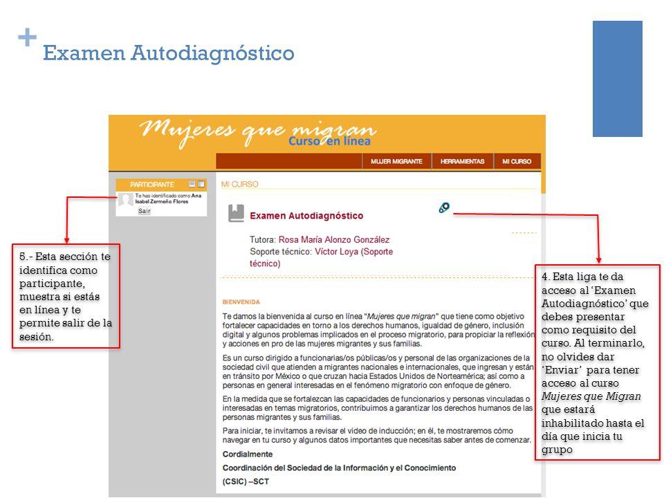 + 5.- Esta sección te identifica como participante, muestra si estás en línea y te permite salir de la sesión. Examen Autodiagnóstico 4. Esta liga te