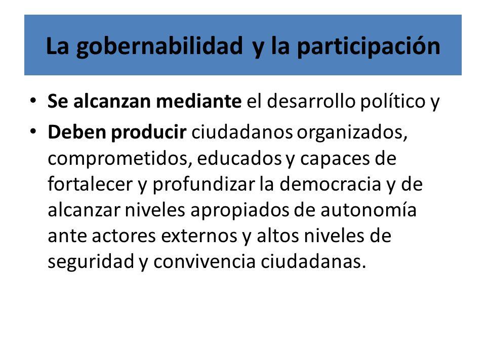 La gobernabilidad y la participación Se alcanzan mediante el desarrollo político y Deben producir ciudadanos organizados, comprometidos, educados y ca