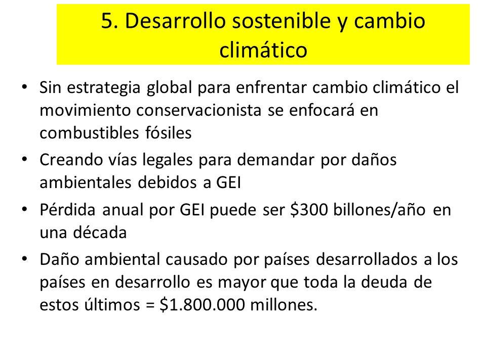 5. Desarrollo sostenible y cambio climático Sin estrategia global para enfrentar cambio climático el movimiento conservacionista se enfocará en combus