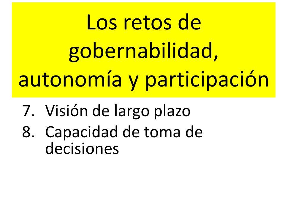 Los retos de gobernabilidad, autonomía y participación 7.Visión de largo plazo 8.Capacidad de toma de decisiones