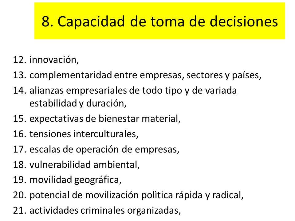 8. Capacidad de toma de decisiones 12.innovación, 13.complementaridad entre empresas, sectores y países, 14.alianzas empresariales de todo tipo y de v