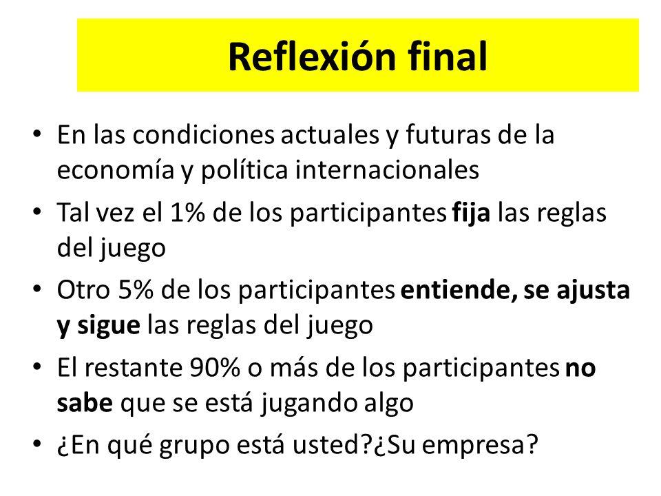 Reflexión final En las condiciones actuales y futuras de la economía y política internacionales Tal vez el 1% de los participantes fija las reglas del