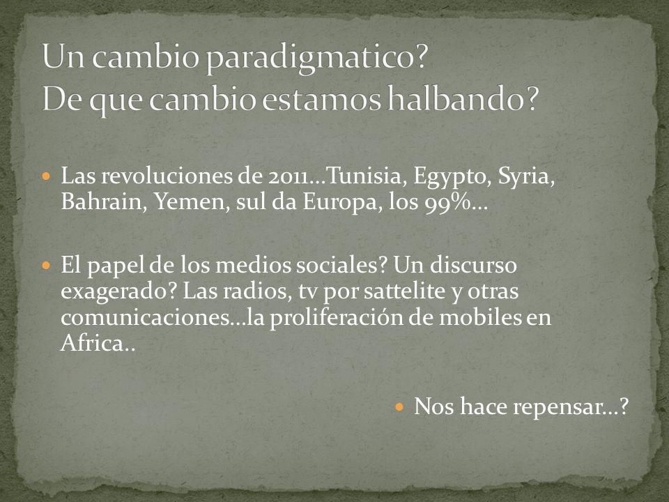 Las revoluciones de 2011…Tunisia, Egypto, Syria, Bahrain, Yemen, sul da Europa, los 99%… El papel de los medios sociales? Un discurso exagerado? Las r