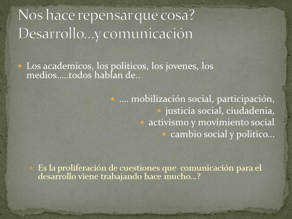 Los academicos, los politicos, los jovenes, los medios…..todos hablan de.. …. mobilización social, participación, justicia social, ciudadenia, activis