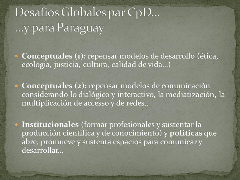 Conceptuales (1): repensar modelos de desarrollo (ética, ecologia, justicia, cultura, calidad de vida…) Conceptuales (2): repensar modelos de comunica
