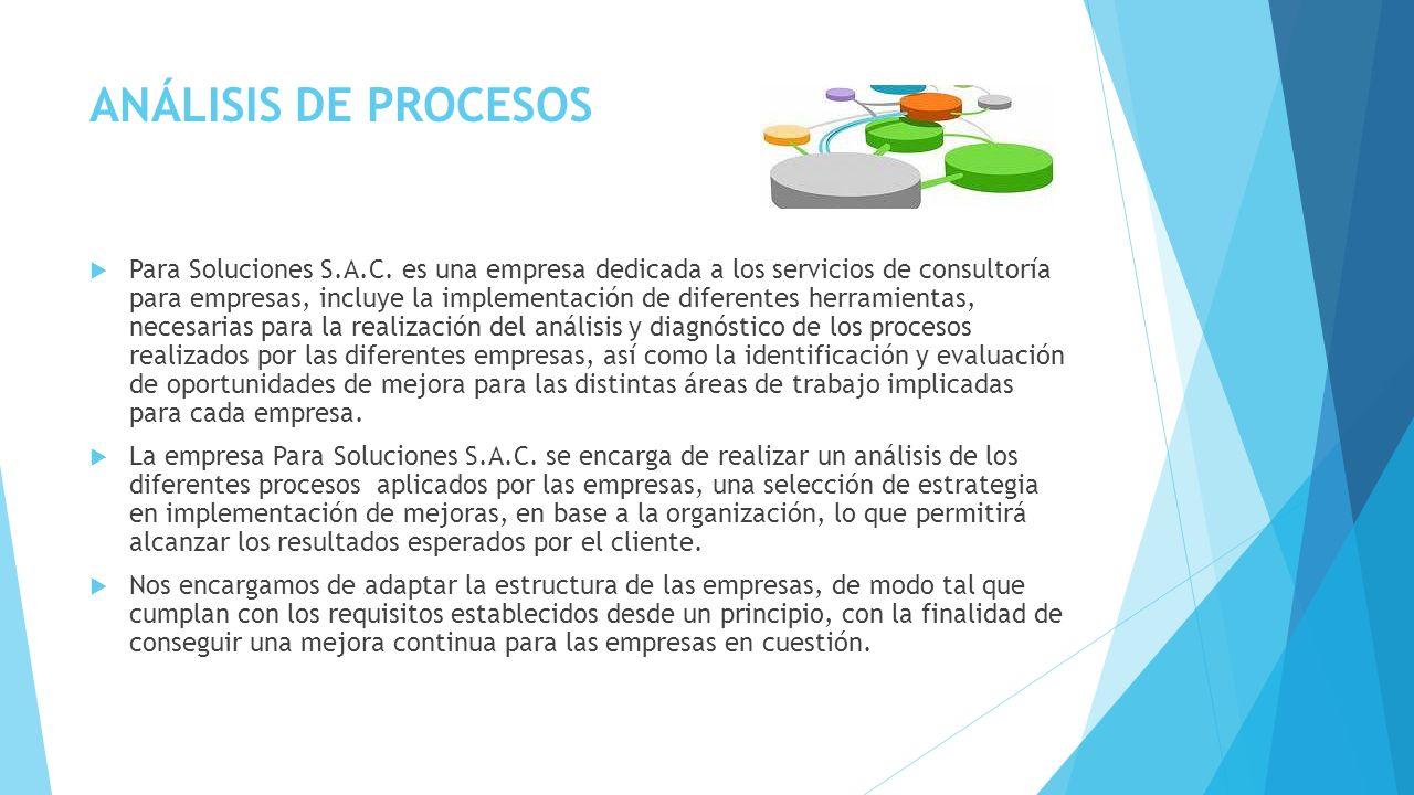 ANÁLISIS DE PROCESOS Para Soluciones S.A.C. es una empresa dedicada a los servicios de consultoría para empresas, incluye la implementación de diferen
