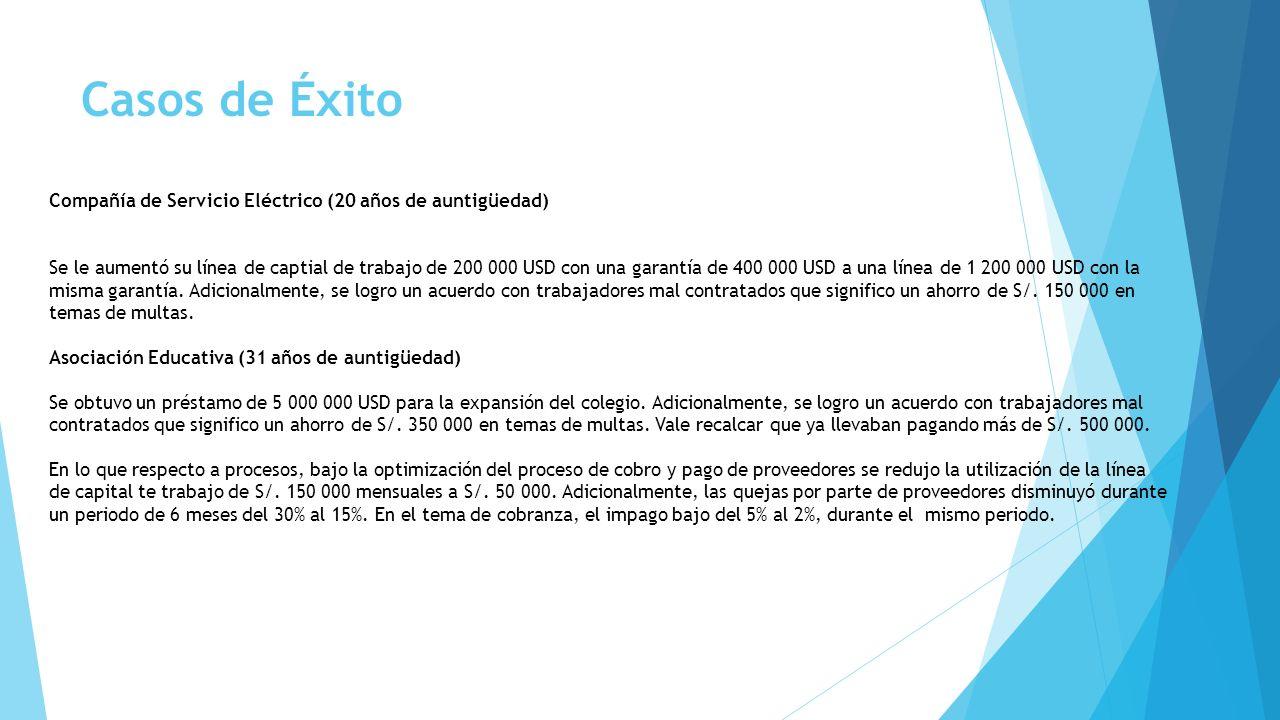 Casos de Éxito Compañía de Servicio Eléctrico (20 años de auntigüedad) Se le aumentó su línea de captial de trabajo de 200 000 USD con una garantía de