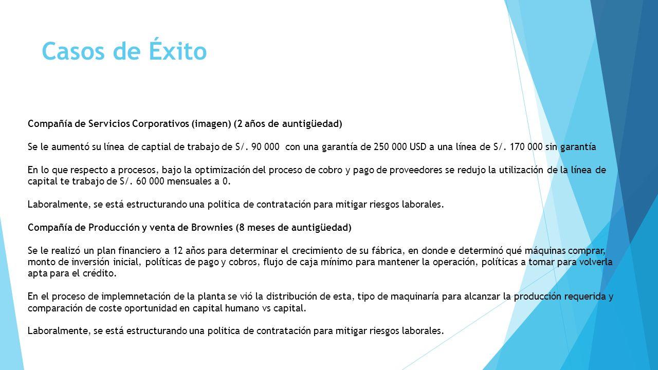 Compañía de Servicios Corporativos (imagen) (2 años de auntigüedad) Se le aumentó su línea de captial de trabajo de S/. 90 000 con una garantía de 250