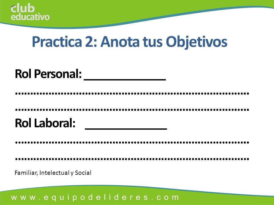 Practica 2: Anota tus Objetivos Rol Personal: _____________ …………………………………………………………………..