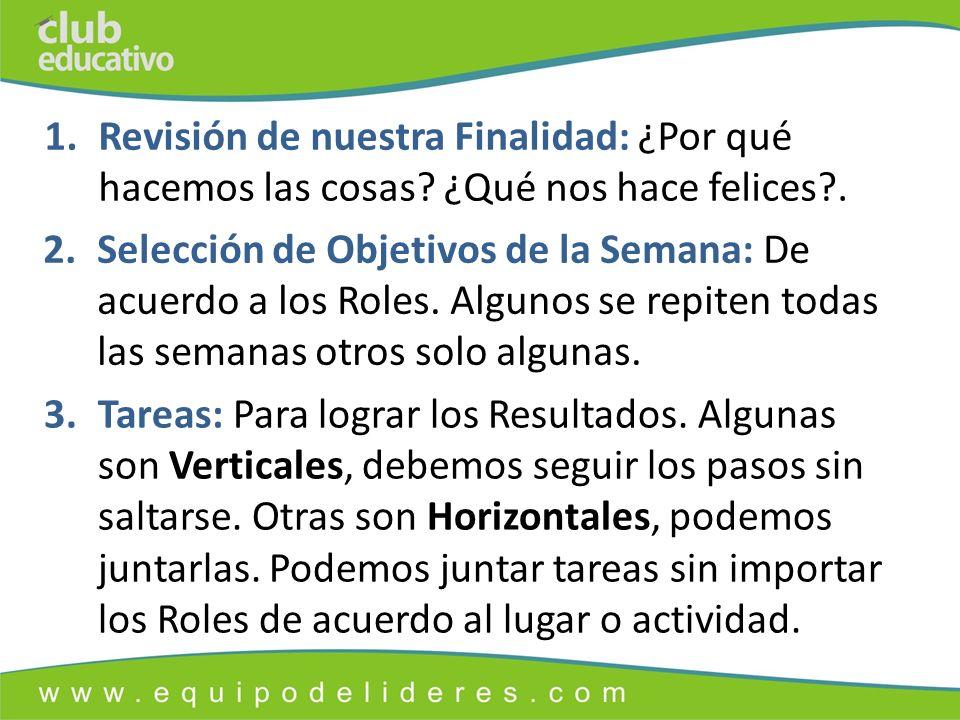 2.Selección de Objetivos de la Semana: De acuerdo a los Roles.