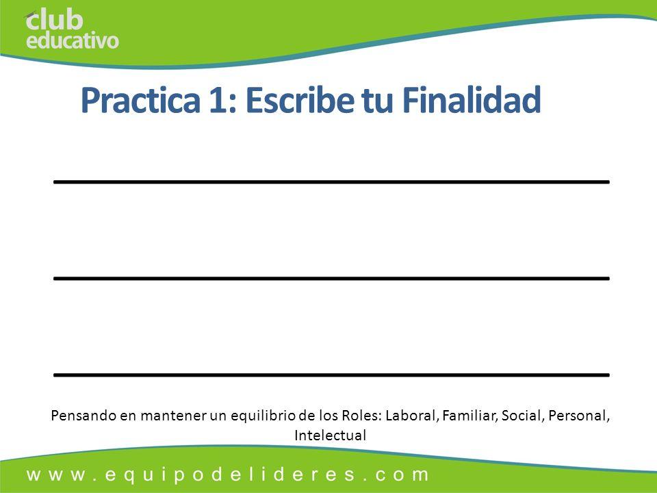 Practica 1: Escribe tu Finalidad ______________________________ Pensando en mantener un equilibrio de los Roles: Laboral, Familiar, Social, Personal, Intelectual