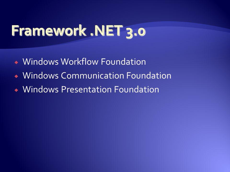 Windows Workflow Foundation Windows Communication Foundation Windows Presentation Foundation