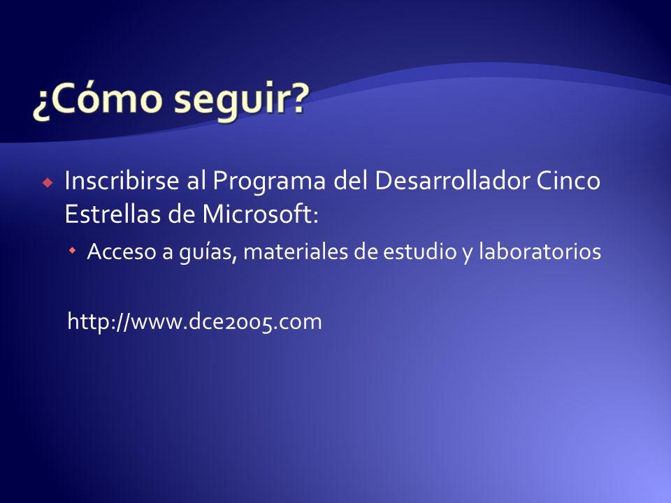 Inscribirse al Programa del Desarrollador Cinco Estrellas de Microsoft: Acceso a guías, materiales de estudio y laboratorios http://www.dce2005.com