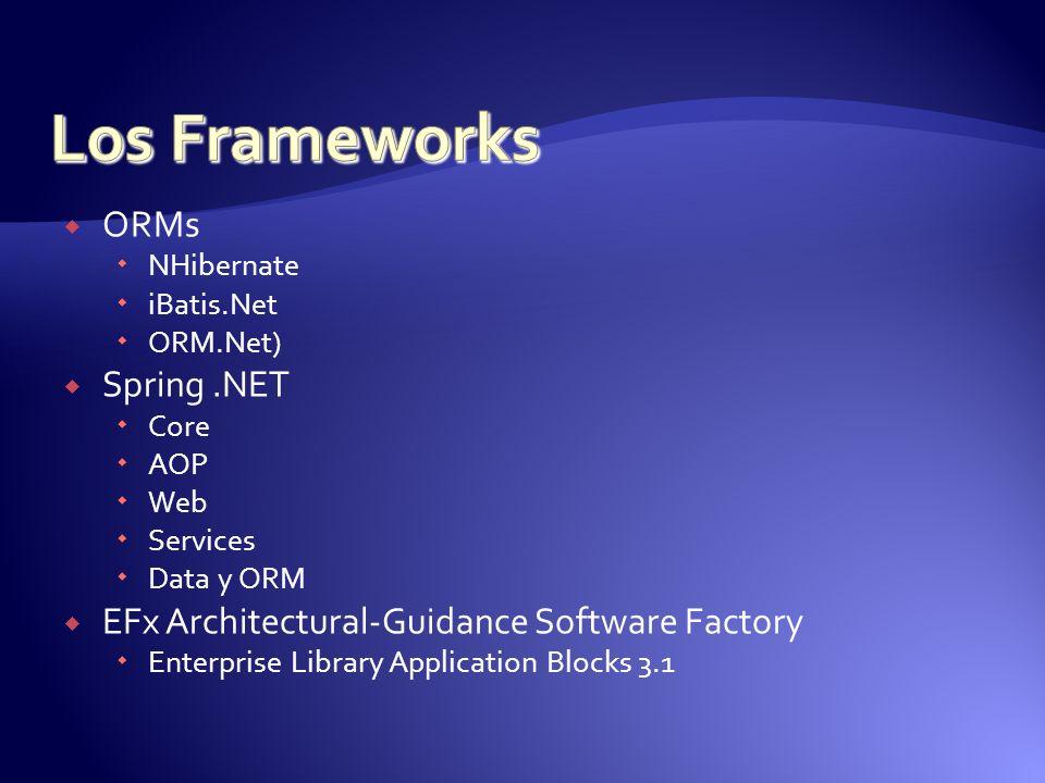 ORMs NHibernate iBatis.Net ORM.Net) Spring.NET Core AOP Web Services Data y ORM EFx Architectural-Guidance Software Factory Enterprise Library Applica
