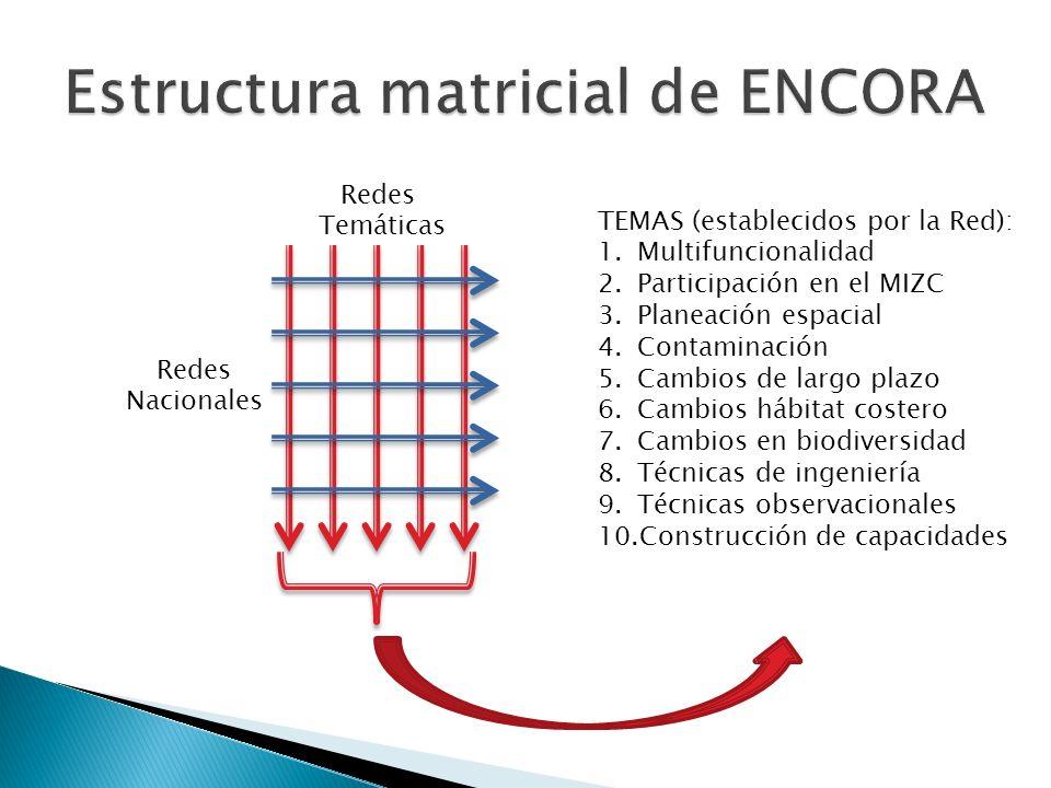 Redes Temáticas Redes Nacionales TEMAS (establecidos por la Red): 1.Multifuncionalidad 2.Participación en el MIZC 3.Planeación espacial 4.Contaminación 5.Cambios de largo plazo 6.Cambios hábitat costero 7.Cambios en biodiversidad 8.Técnicas de ingeniería 9.Técnicas observacionales 10.Construcción de capacidades