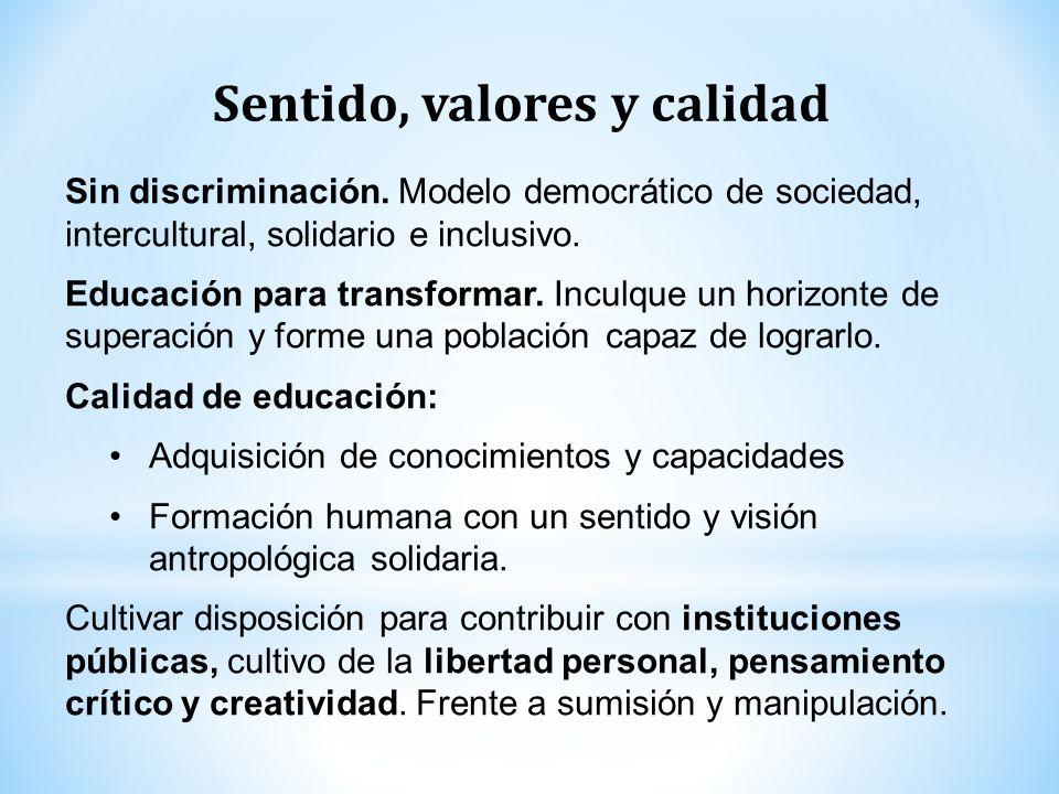 Sin discriminación. Modelo democrático de sociedad, intercultural, solidario e inclusivo. Educación para transformar. Inculque un horizonte de superac