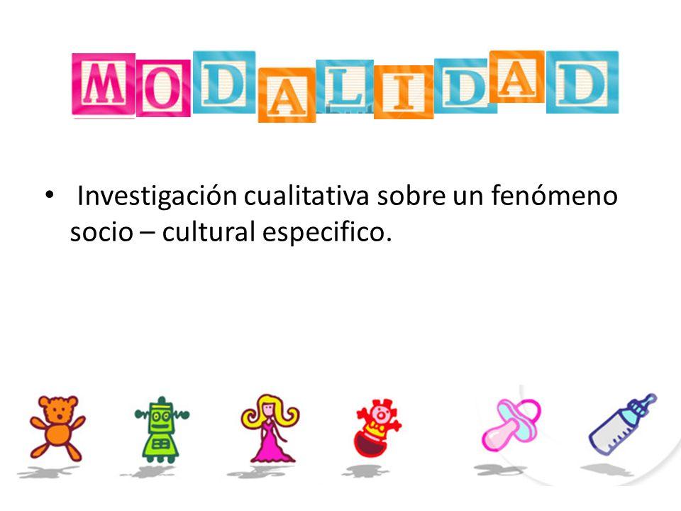Investigación cualitativa sobre un fenómeno socio – cultural especifico.