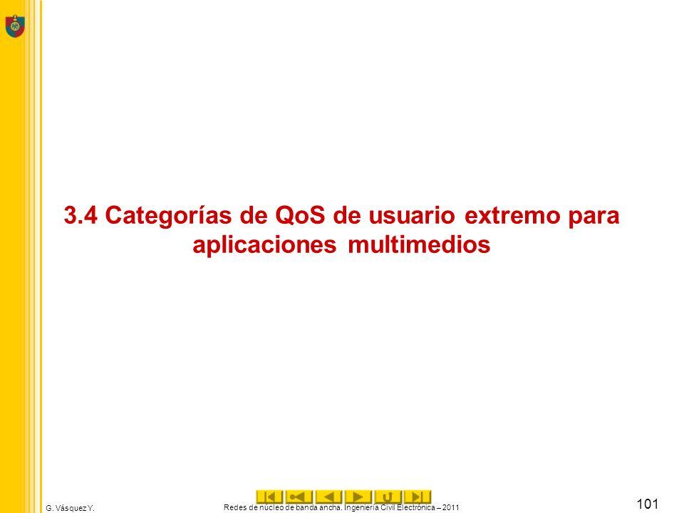 G. Vásquez Y. 3.4 Categorías de QoS de usuario extremo para aplicaciones multimedios Redes de núcleo de banda ancha. Ingeniería Civil Electrónica – 20