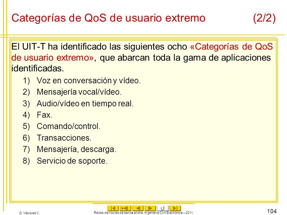 G. Vásquez Y. Categorías de QoS de usuario extremo(2/2) El UIT-T ha identificado las siguientes ocho «Categorías de QoS de usuario extremo», que abarc