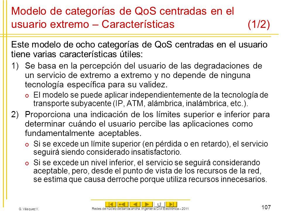 G. Vásquez Y. Modelo de categorías de QoS centradas en el usuario extremo – Características (1/2) Este modelo de ocho categorías de QoS centradas en e