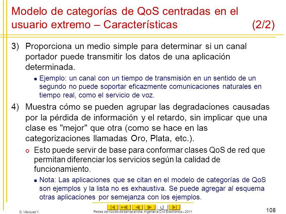 G. Vásquez Y. Modelo de categorías de QoS centradas en el usuario extremo – Características (2/2) 3)Proporciona un medio simple para determinar si un