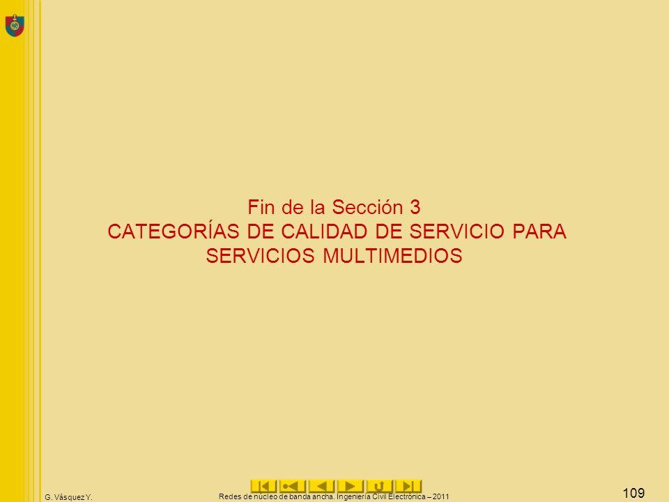 G. Vásquez Y. Fin de la Sección 3 CATEGORÍAS DE CALIDAD DE SERVICIO PARA SERVICIOS MULTIMEDIOS Redes de núcleo de banda ancha. Ingeniería Civil Electr