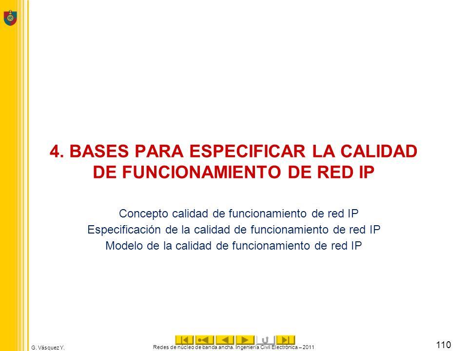 G. Vásquez Y. 4. BASES PARA ESPECIFICAR LA CALIDAD DE FUNCIONAMIENTO DE RED IP Concepto calidad de funcionamiento de red IP Especificación de la calid