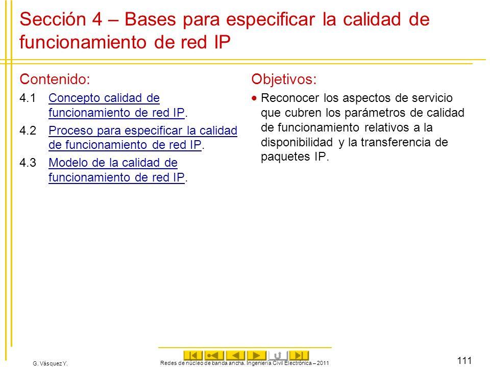 G. Vásquez Y. Sección 4 – Bases para especificar la calidad de funcionamiento de red IP Contenido: 4.1Concepto calidad de funcionamiento de red IP.Con
