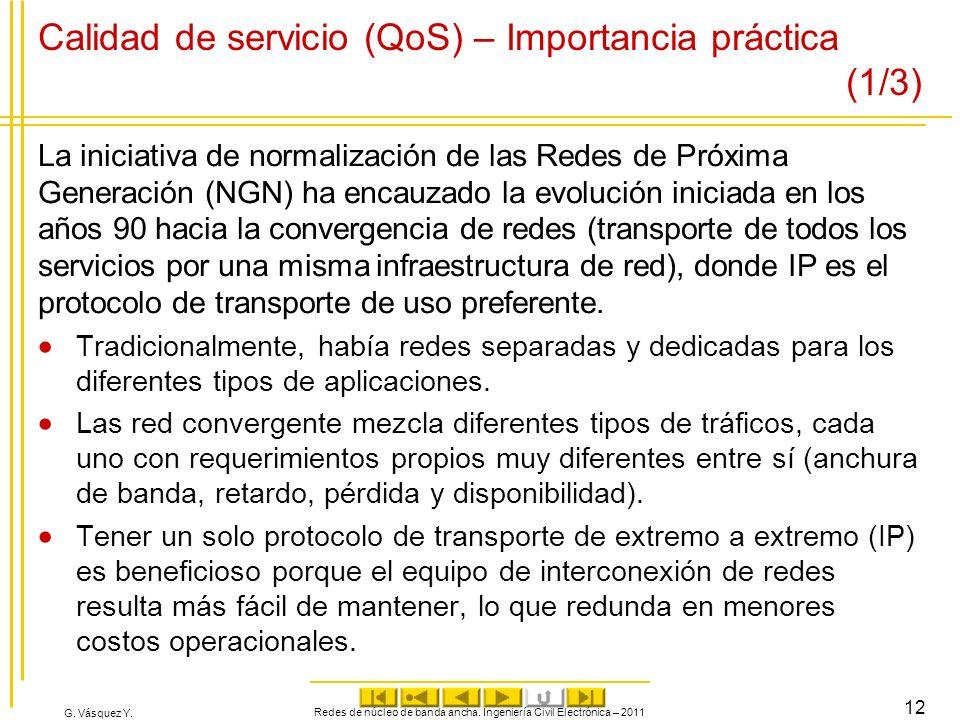 G. Vásquez Y. Calidad de servicio (QoS) – Importancia práctica (1/3) La iniciativa de normalización de las Redes de Próxima Generación (NGN) ha encauz