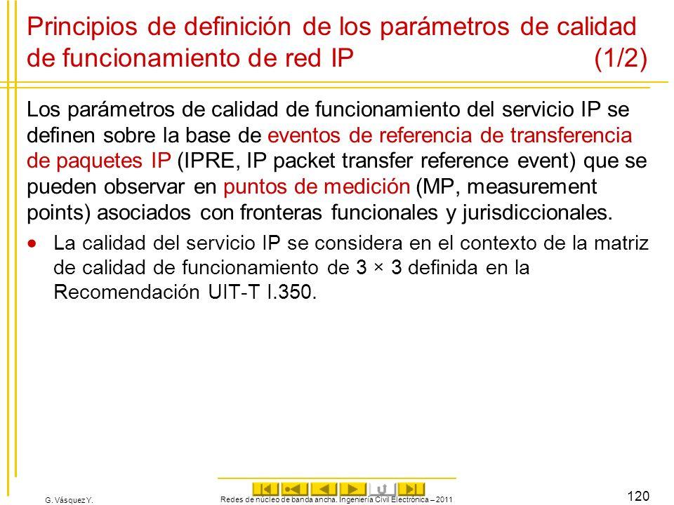G. Vásquez Y. Redes de núcleo de banda ancha. Ingeniería Civil Electrónica – 2011 120 Principios de definición de los parámetros de calidad de funcion